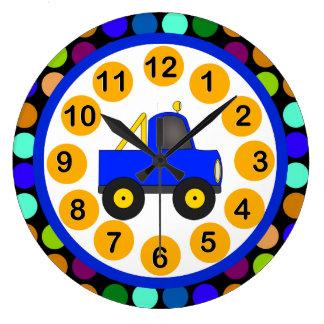 Lunares coloridos del camión del reloj de pared de
