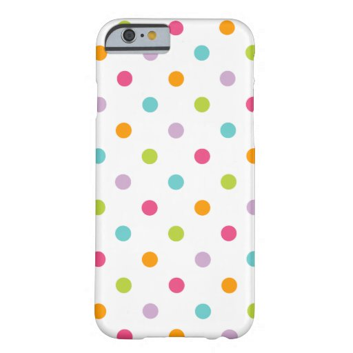 Lunares coloridos femeninos lindos funda de iPhone 6 barely there