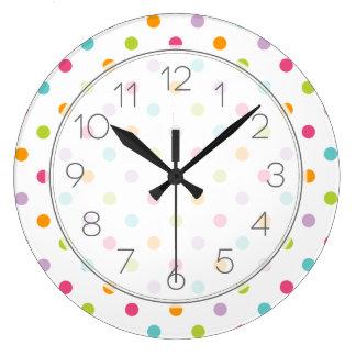 Lunares coloridos femeninos lindos reloj redondo grande