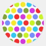 Lunares coloridos pegatina redonda