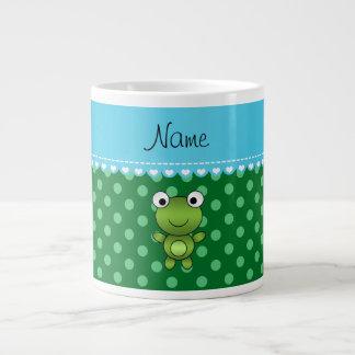 Lunares conocidos de encargo del verde de la rana taza grande