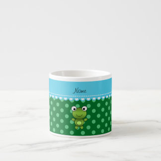 Lunares conocidos de encargo del verde de la rana taza espresso