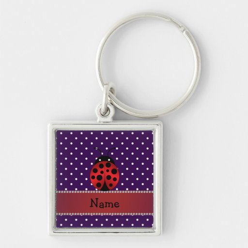 Lunares conocidos personalizados de la púrpura de  llavero cuadrado plateado