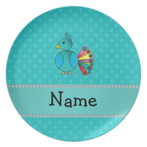Lunares conocidos personalizados de la turquesa de platos de comidas