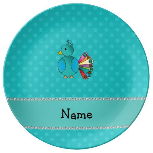 Lunares conocidos personalizados de la turquesa de plato de cerámica