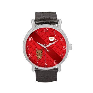 Lunares conocidos personalizados de santa del reno reloj de mano