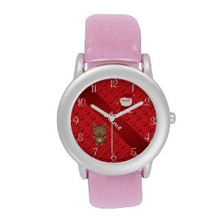 Lunares conocidos personalizados de santa del reno relojes de pulsera