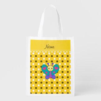 Lunares conocidos personalizados del amarillo de bolsas para la compra