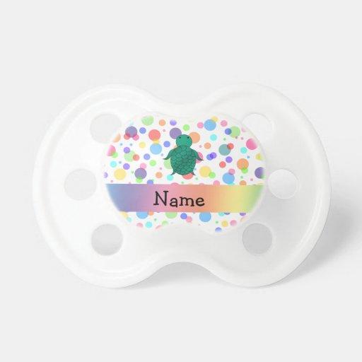 Lunares conocidos personalizados del arco iris de chupete de bebe