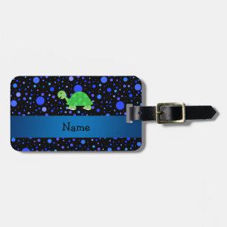 Lunares conocidos personalizados del azul de la etiquetas de equipaje