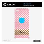 Lunares conocidos personalizados del rosa de la ca iPhone 4 skin