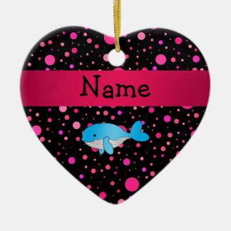 Lunares conocidos personalizados del rosa de la adorno de cerámica en forma de corazón