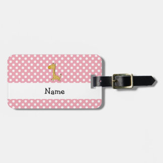 Lunares conocidos personalizados del rosa de la etiqueta de maleta