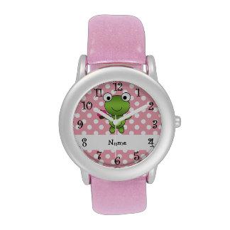 Lunares conocidos personalizados del rosa de la ma relojes de mano