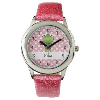 Lunares conocidos personalizados del rosa de la reloj