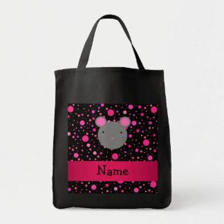 Lunares conocidos personalizados del rosa del bolsa tela para la compra