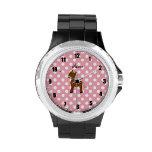 Lunares conocidos personalizados del rosa del caba relojes de mano