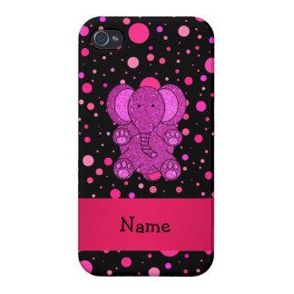 Lunares conocidos personalizados del rosa del elef iPhone 4 protectores