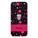 Lunares conocidos personalizados del rosa del negr iPhone 5 protector