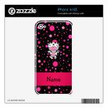 Lunares conocidos personalizados del rosa del negr skins para eliPhone 4