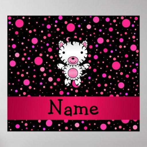 Lunares conocidos personalizados del rosa del negr póster