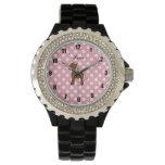 Lunares conocidos personalizados del rosa del relojes de mano