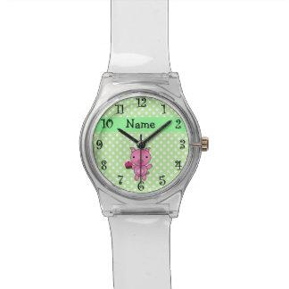 Lunares conocidos personalizados del verde de la relojes de mano