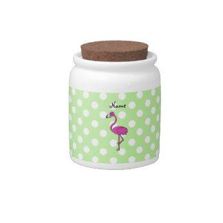 Lunares conocidos personalizados del verde del fla tarro de cerámica para dulces