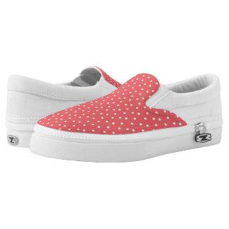 Lunares coralinos y blancos lindos zapatillas