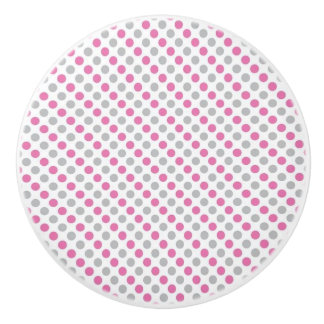 Lunares de cerámica del botón/del rosa y del gris pomo de cerámica