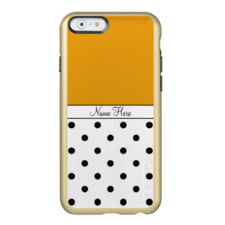 Lunares de encargo anaranjados del nombre, negros funda para iPhone 6 plus incipio feather shine