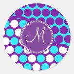 Lunares de encargo de la púrpura del trullo de la  etiquetas redondas