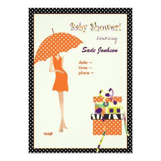 Lunares de la naranja de la ducha de la mamá bebé invitación 12,7 x 17,8 cm