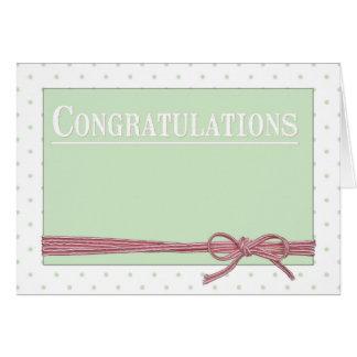 Lunares de la pajarita de la enhorabuena tarjeta de felicitación