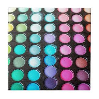 Lunares de la paleta del maquillaje del arco iris azulejo cuadrado pequeño
