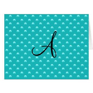 Lunares de la perla de la turquesa del monograma felicitaciones