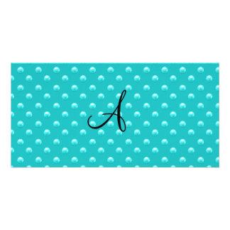 Lunares de la perla de la turquesa del monograma tarjeta personal