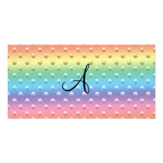 Lunares de la perla del arco iris del monograma tarjeta personal con foto