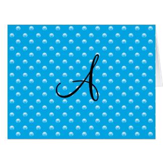 Lunares de la perla del azul de cielo del monogram felicitacion