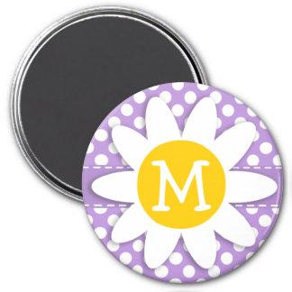 Lunares de la púrpura de la lavanda imán redondo 7 cm