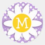Lunares de la púrpura de la lavanda etiquetas redondas