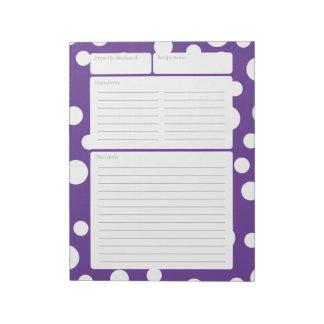 Lunares de la púrpura de la página de la receta bloc de papel