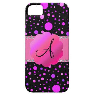 Lunares de la púrpura del monograma iPhone 5 fundas
