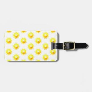 Lunares de la rebanada del limón etiqueta de maleta