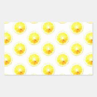 Lunares de la rebanada del limón pegatina rectangular