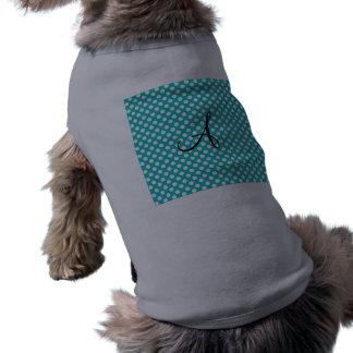 Lunares de la turquesa del monograma prenda mascota