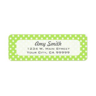 Lunares de la verde lima y del blanco etiqueta de remitente
