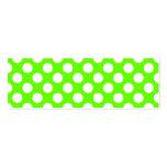 Lunares de la verde lima y del blanco tarjetas de negocios