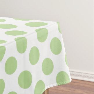 Lunares de la verde menta en blanco mantel de tela