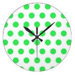 Lunares de la verde menta relojes de pared